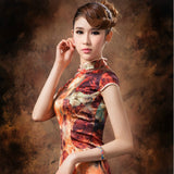 Oil Painting Knee Length Silk Casual Cheongsam - Crayola - YannyExpress  - 4