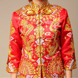 Chinese Wedding Kwa Qun Traditional Bridal Qipao Gown - YannyExpress  - 3