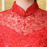 Chinese Wedding Gown Bridal Cheongsam Lace Mermaid Ball Qipao - YannyExpress  - 4