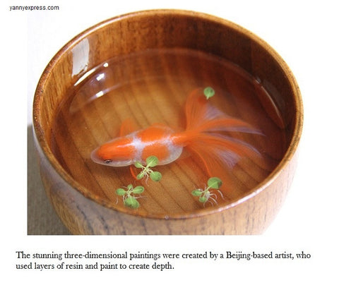 "3D Goldfish Painting In Resin Water inspired by Riusuke Fukahori  ""夕晴"" - YannyExpress  - 1"