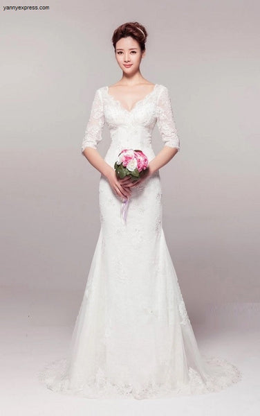 3/4 Sleeve All Over Lace Trumpet Gown - YannyExpress  - 1