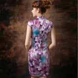 Purple Floral Oil Painting Silk Cheongsam Mandarin Collar - YannyExpress  - 3
