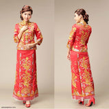 Chinese Wedding Kwa Qun Traditional Bridal Qipao Gown - YannyExpress  - 2