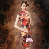 Oil Painting Knee Length Silk Casual Cheongsam - Crayola - YannyExpress  - 5