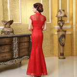 Chinese Wedding Gown Bridal Cheongsam Lace Mermaid Ball Qipao - YannyExpress  - 2