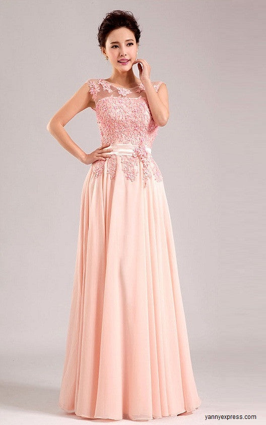 Ethereal Dress with Illusion Top Evening Ball Prom Gown – YannyExpress