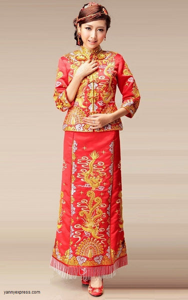 Chinese Wedding Kwa Qun Traditional Bridal Qipao Gown - YannyExpress  - 1