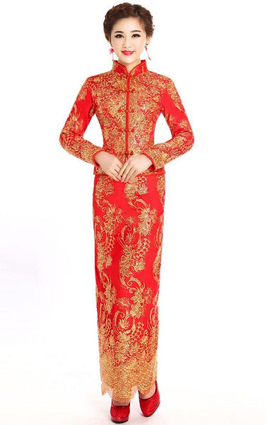 Chinese Wedding Dress Qipao Bridal Gown Dragon and Phoenix Banquet Hall - YannyExpress  - 1