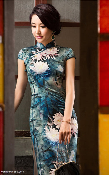 Traditional Long Silk Cheongsam Ink Floral Painting Evening Gown - YannyExpress  - 1