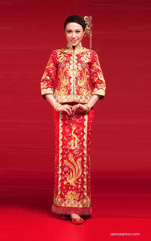 Chinese Wedding Dress Qun Kwa Bridal Gold Silver Embroidery Gown - YannyExpress  - 1