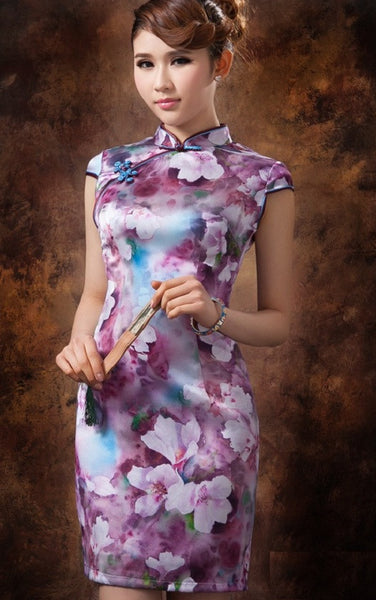 Purple Floral Oil Painting Silk Cheongsam Mandarin Collar - YannyExpress  - 1