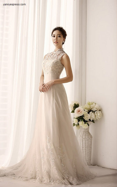 Chinese Wedding Gown Lace Modern Bridal Qipao Sweep Train - YannyExpress  - 1
