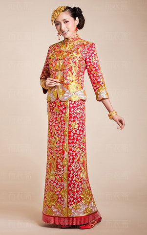 Kwa Qun-Traditional Brocade Chinese Wedding Qipao 龍鳳褂中式裙褂 - YannyExpress  - 1