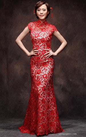 Chinese Wedding Dress Red Lace Gown Bridal Reception Cheongsam - YannyExpress  - 1