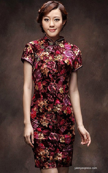 Velvet Mini Qipao with Patterend Blooming Peony Prom Cheongsam - YannyExpress  - 1