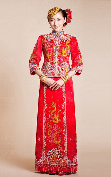 Kwa Qun Dragon and Phoenix Brocade Chinese Wedding Qipao 龍鳳褂中式裙褂 - YannyExpress  - 1