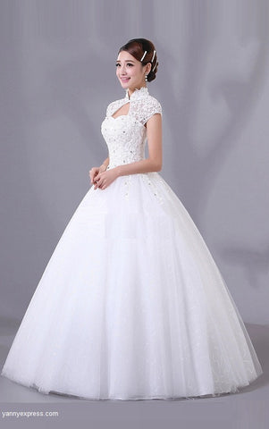 Chinese Wedding White Gown Mandarin Collar Bridal Dress - YannyExpress  - 1