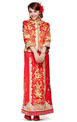 Embroider Dragon & Phoenix And Peony Kwa Qun Wedding Qipao 龍鳳褂中式裙褂 - YannyExpress  - 1