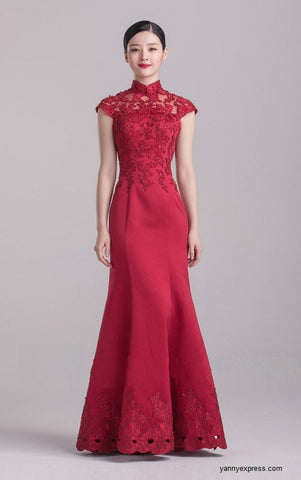Chinese Wedding Gown Modified Cheongsam Prom / Homecoming Dress - YannyExpress  - 1