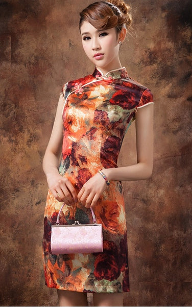 Oil Painting Knee Length Silk Casual Cheongsam - Crayola - YannyExpress  - 1