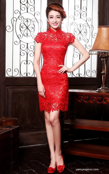 Chinese Wedding Gown Ball Short Cheongsam Bridal Party Dress - YannyExpress  - 1
