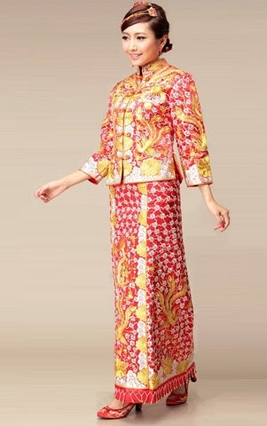 Kwa Qun Brocade Gold & Silver Embrioder Dragon & Phoenix Gown - YannyExpress  - 1