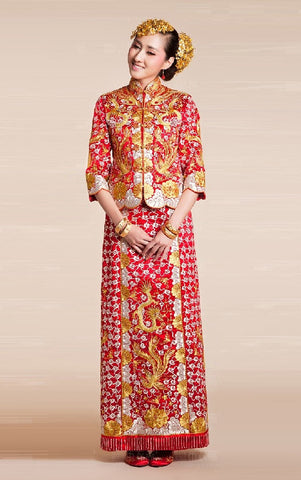 Kwa Qun Embroider Dragon & Phoenix Brocade Chinese Wedding Gown Qipao - YannyExpress  - 1