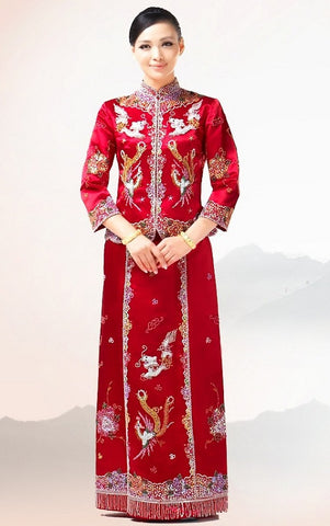 Qun Kwa Chinese Wedding Dragon & Phoenix Beading Embroidery Gown - YannyExpress  - 1