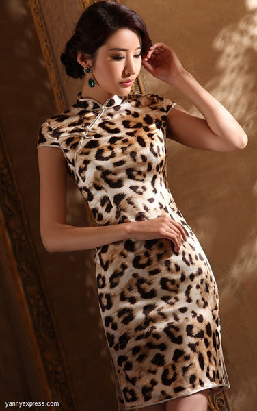 Leopard Patterned Silk Cheongsam Cocktail Evening Qipao Gown - YannyExpress  - 1