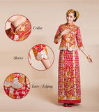 Kwa Qun Embroider Dragon & Phoenix Brocade Chinese Wedding Gown Qipao - YannyExpress  - 6