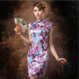 Purple Floral Oil Painting Silk Cheongsam Mandarin Collar - YannyExpress  - 6