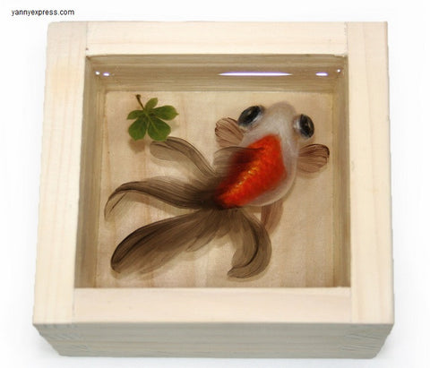 3-D Painting of Goldfish in Resin Water inspired by Riusuke Fukahori - YannyExpress  - 1