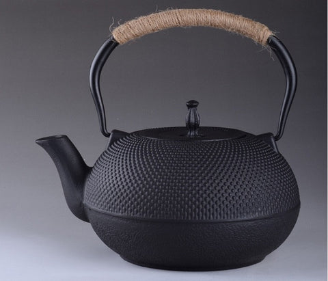 MIDIUM HOBNAIL CAST IRON BLACK TEAPOT - YannyExpress  - 1