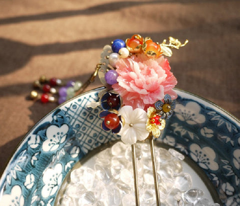 "Handmade Chinese Traditional Hairpins ""羽霞"" - YannyExpress  - 1"