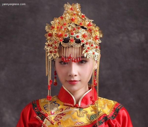 Chinese Wedding Phoenix Bridal Crown Headdress – YannyExpress