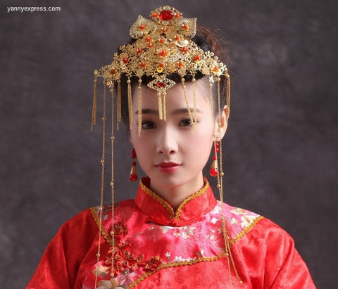 Chinese Bridal Hairpiece Jewelry Wire Warp - YannyExpress  - 1