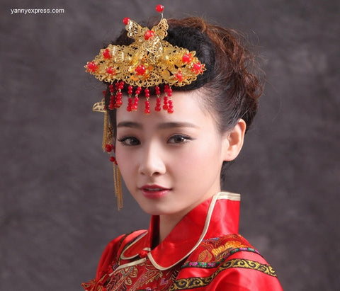 Chinese Wedding Bridal Hairpiece Ornament - YannyExpress  - 1