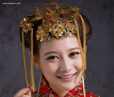 Chinese Wedding Bridal Hairpiece Crown - YannyExpress  - 1