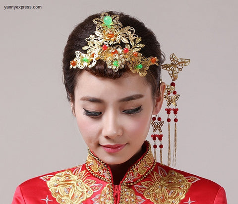 Chinese Wedding Headpiece Bridal Wire Warp - YannyExpress  - 1