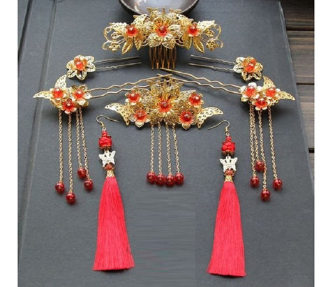 Chinese Wedding Bridal Hairset Combo Set - YannyExpress  - 1