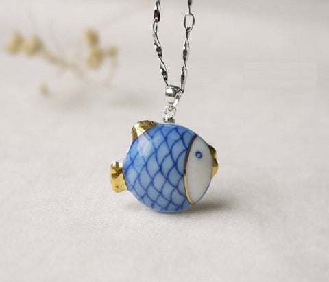 "Porcelain ""Small Fish"" Necklace Pendant - YannyExpress  - 1"