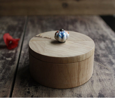 Handmade Round wood jewelry box - YannyExpress  - 1