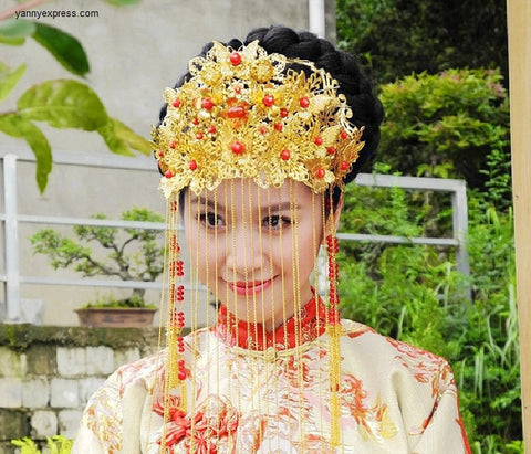 Handmade Chinese Wedding Bridal Crown - YannyExpress  - 1