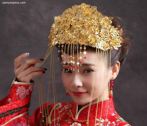 Chinese Wedding Crown Jewelry Bridal Headdress - YannyExpress  - 1