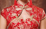 Wedding Cheongsam Brocade Red Modified Lace Bridal Qipao - YannyExpress  - 6