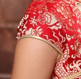 Wedding Cheongsam Brocade Red Modified Lace Bridal Qipao - YannyExpress  - 7