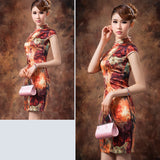 Oil Painting Knee Length Silk Casual Cheongsam - Crayola - YannyExpress  - 7