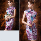 Purple Floral Oil Painting Silk Cheongsam Mandarin Collar - YannyExpress  - 7