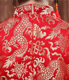 Wedding Cheongsam Brocade Red Modified Lace Bridal Qipao - YannyExpress  - 8