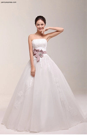 A Line Strapless Wedding Ball Gown with Lace Corset Bodice - YannyExpress  - 1